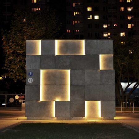 Klinika betonu elewacja betonowa podswietlana instytut audiowizualn compressed